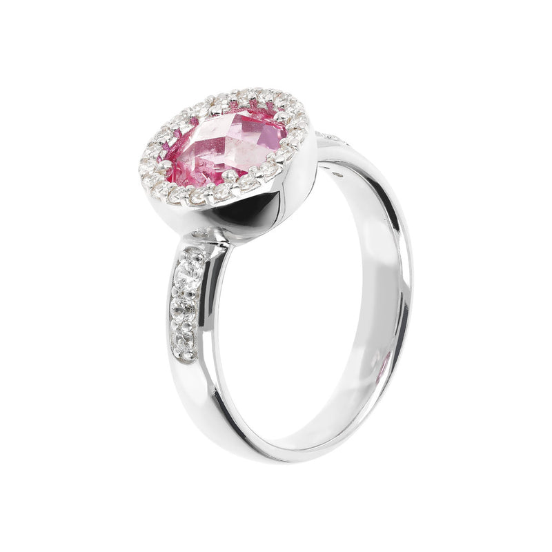 Ring with a Coloured Round Stone and CZ NANO LIGHT PINK+WHITE CZ