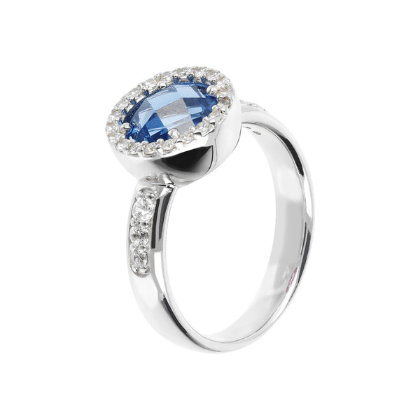 Ring with a Coloured Round Stone and CZ