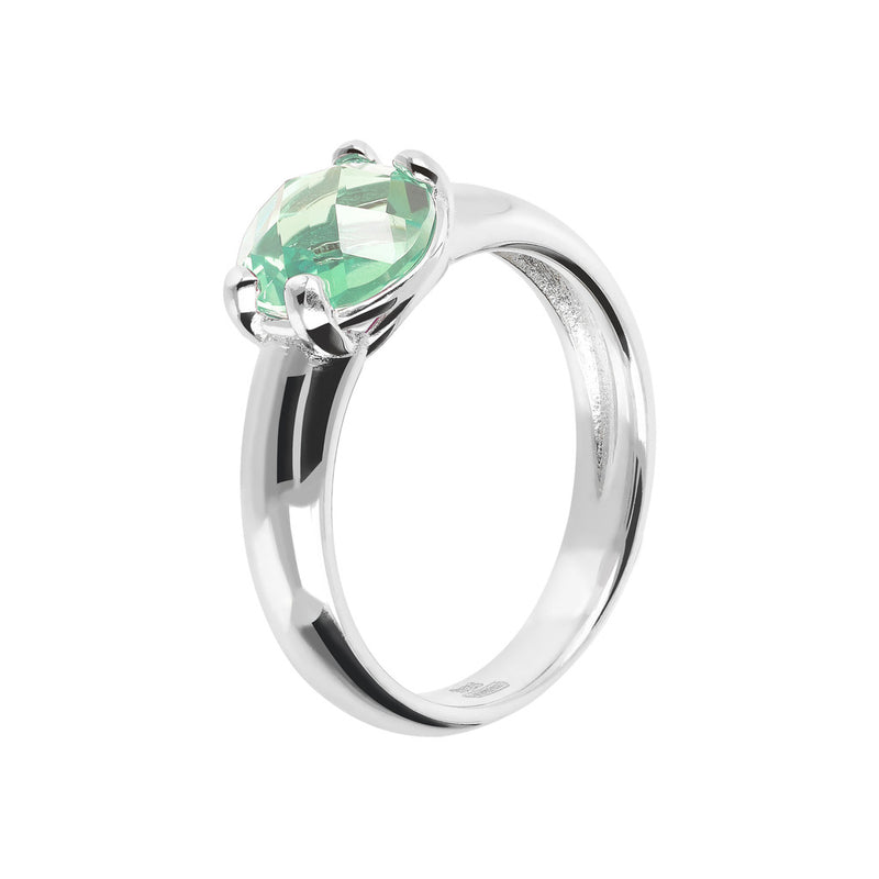 Ring with a Coloured Stone NANO GREEN AMETHYST