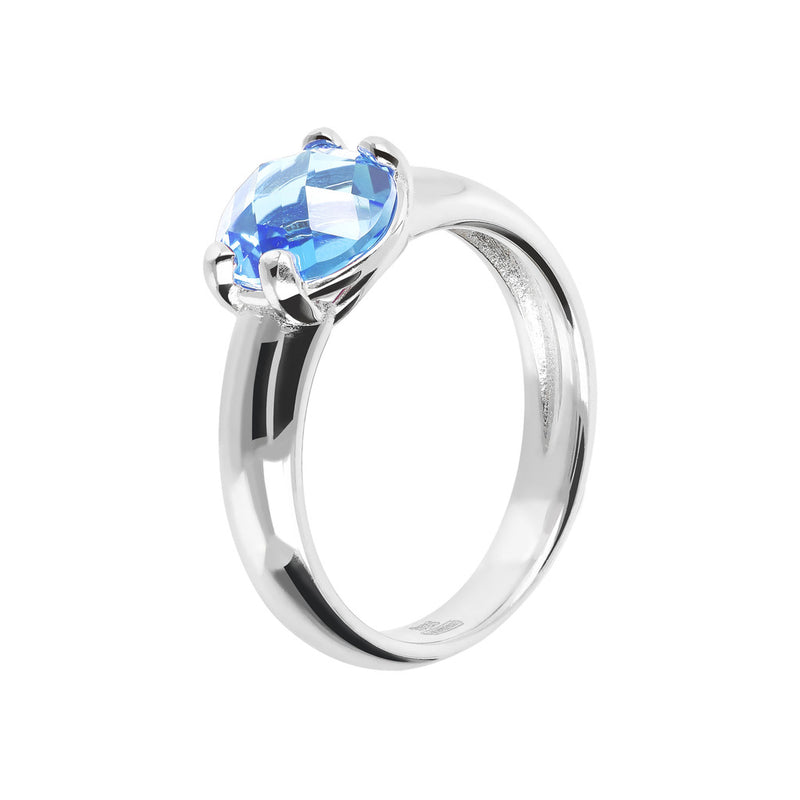 Ring with a Coloured Stone NANO LIGHT BLUE