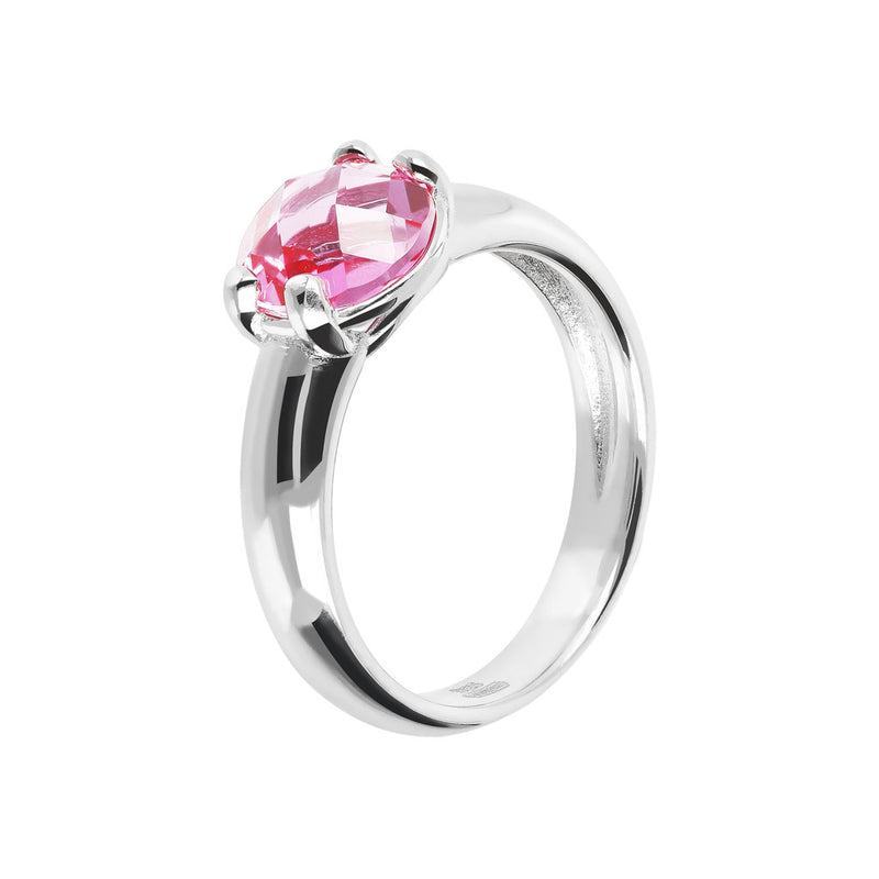 Ring with a Coloured Stone NANO LIGHT PINK