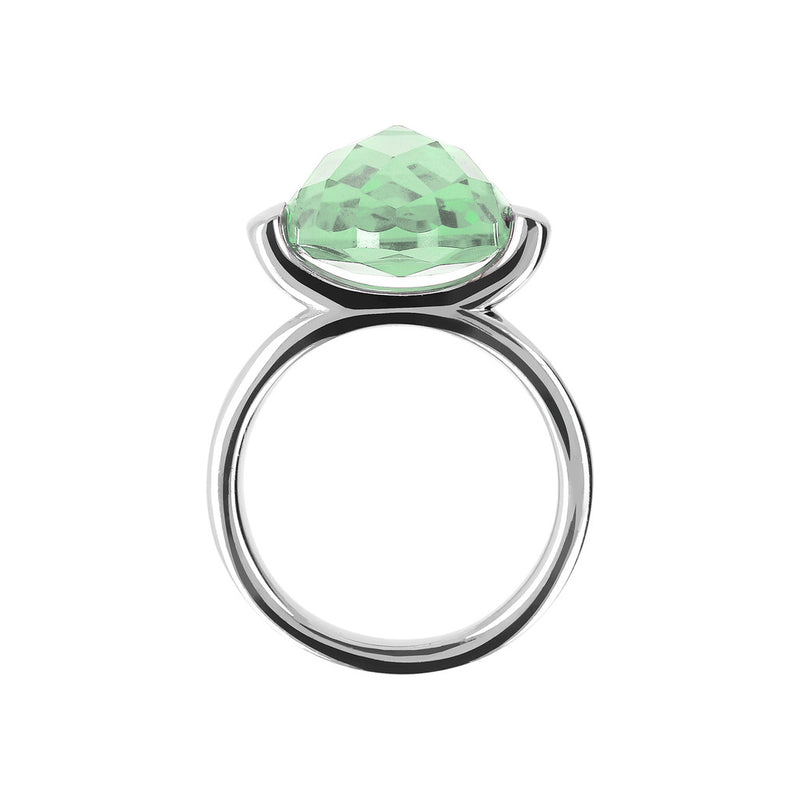 Ring with a Large Oval-Shaped Coloured Stone NANO GREEN AMETHYST setting