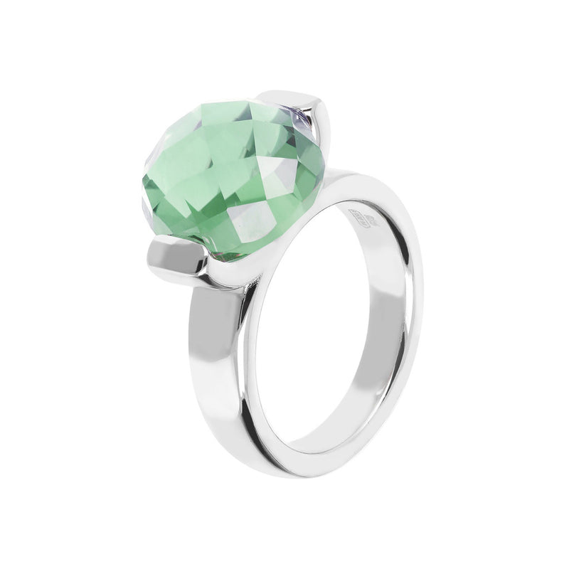 Ring with a Large Oval-Shaped Coloured Stone NANO GREEN AMETHYST