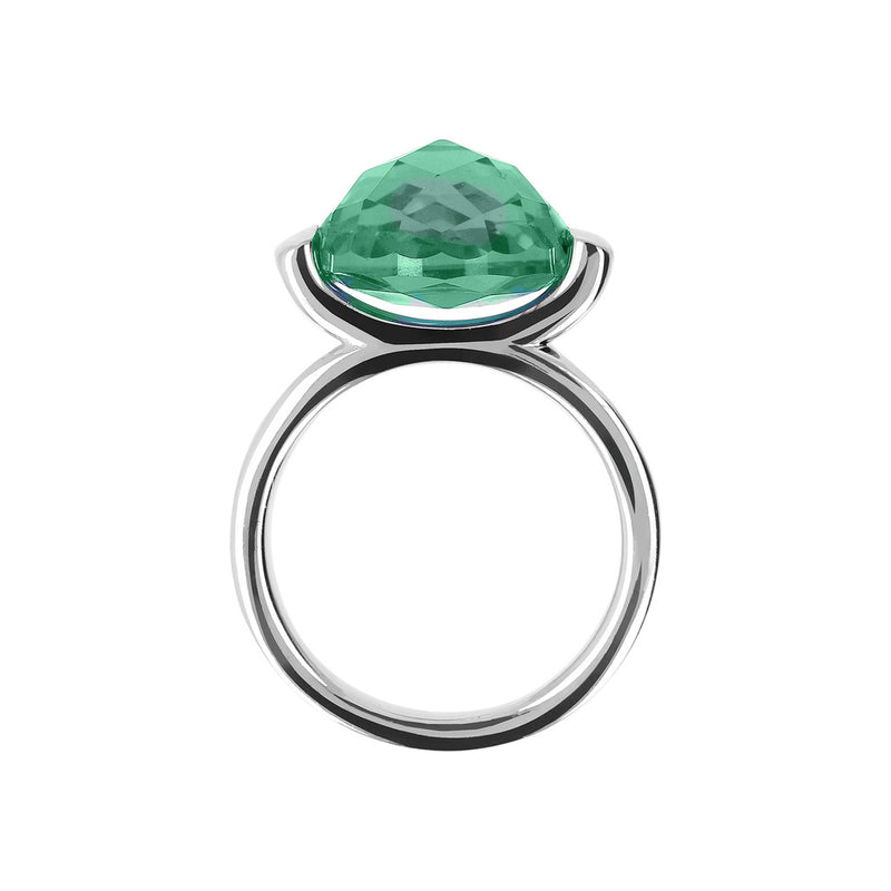 Ring with a Large Oval-Shaped Coloured Stone NANO GREEN QUARTZ setting