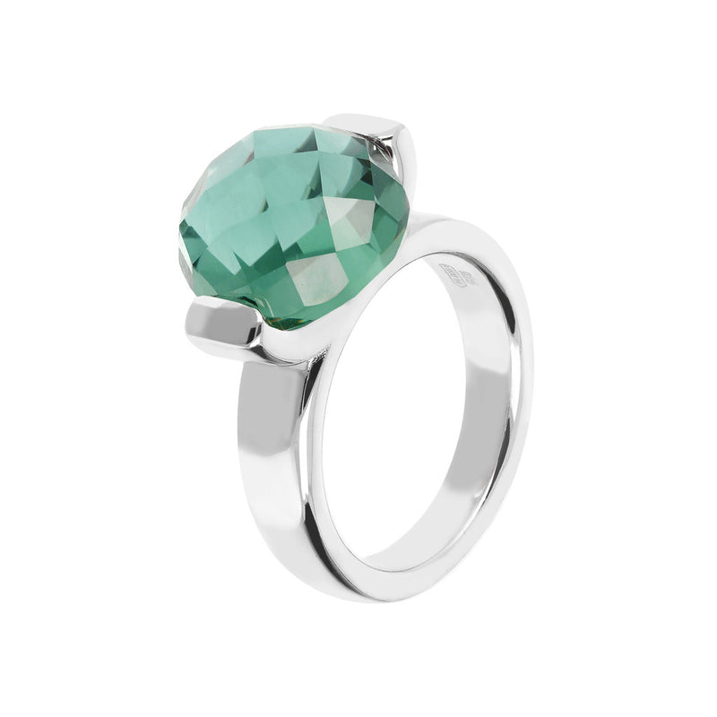 Ring with a Large Oval-Shaped Coloured Stone NANO GREEN QUARTZ
