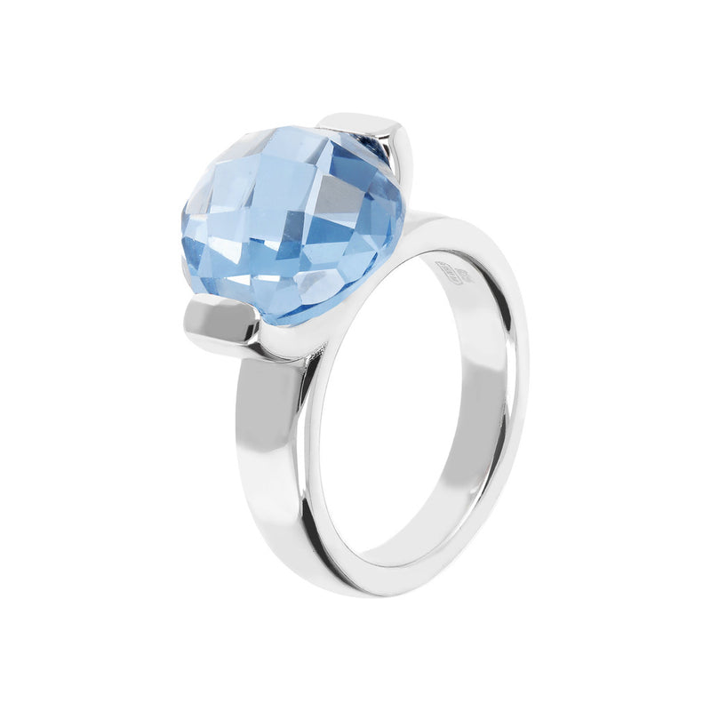 Ring with a Large Oval-Shaped Coloured Stone NANO LIGHT BLUE