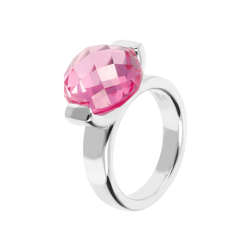 Ring with a Large Oval-Shaped Coloured Stone NANO LIGHT PINK