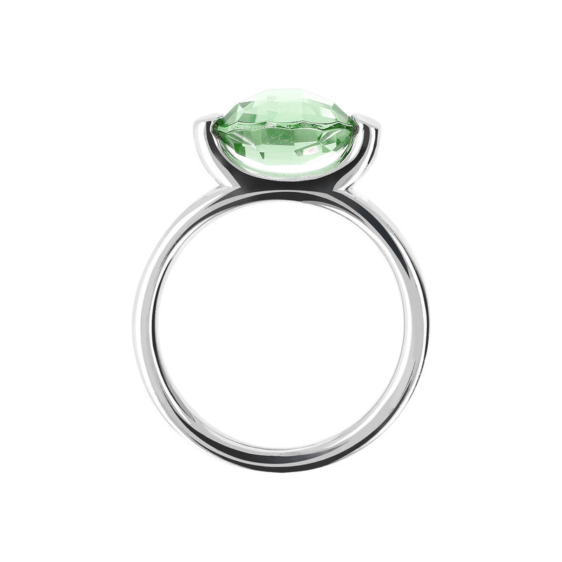 Ring with a Small Oval-Shaped Coloured Stone NANO GREEN AMETHYST setting