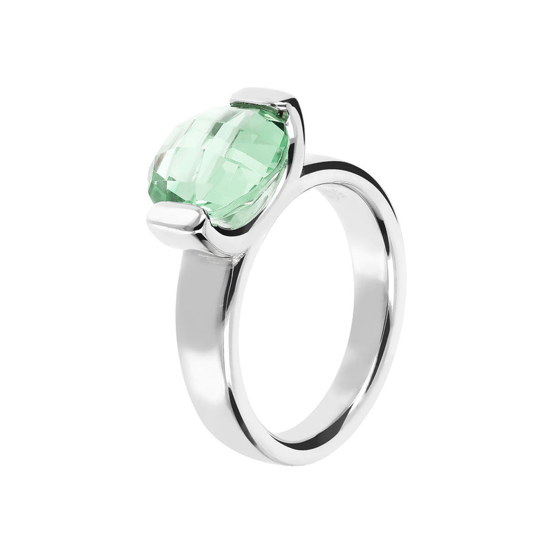 Ring with a Small Oval-Shaped Coloured Stone NANO GREEN AMETHYST
