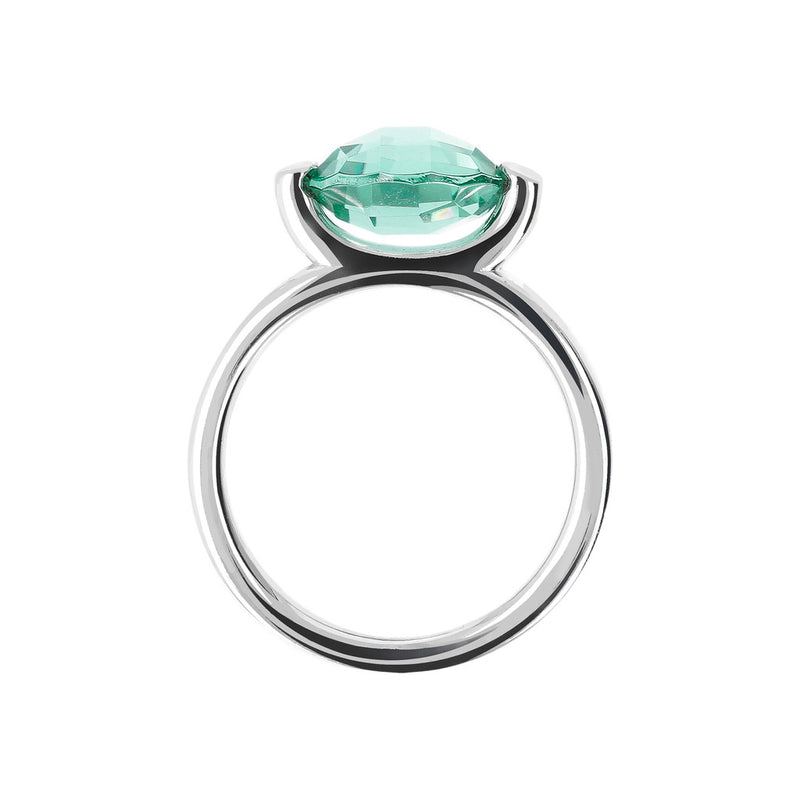 Ring with a Small Oval-Shaped Coloured Stone NANO GREEN QUARTZ setting