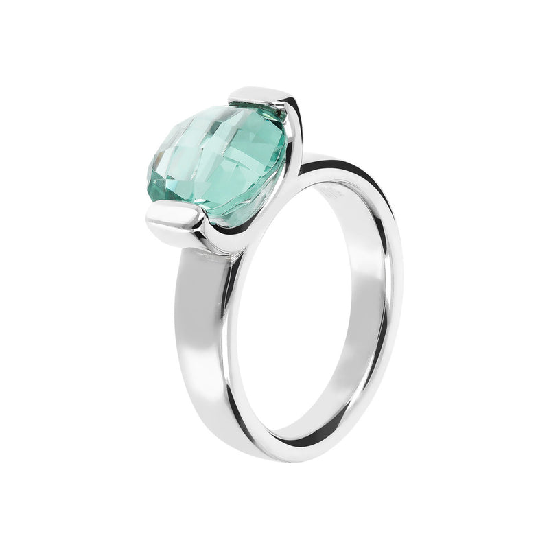 Ring with a Small Oval-Shaped Coloured Stone NANO GREEN QUARTZ