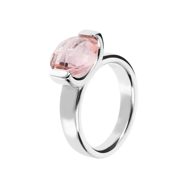 Ring with a Small Oval-Shaped Coloured Stone NANO LIGHT PINK