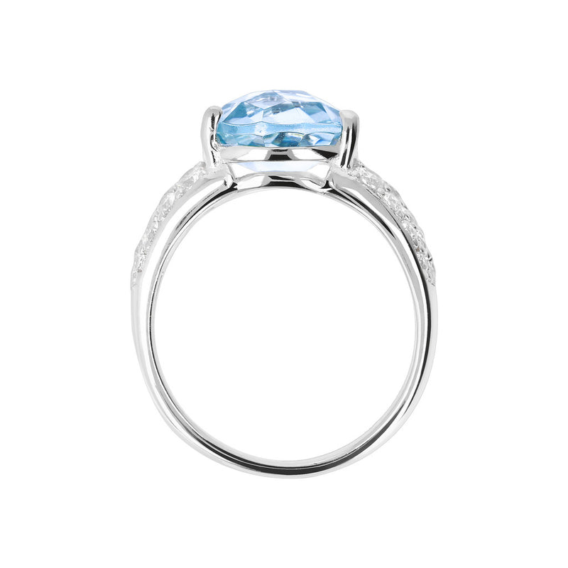 Ring with an Oval Stone and CZ NANO SWISS BLUE+WHITE CZ setting