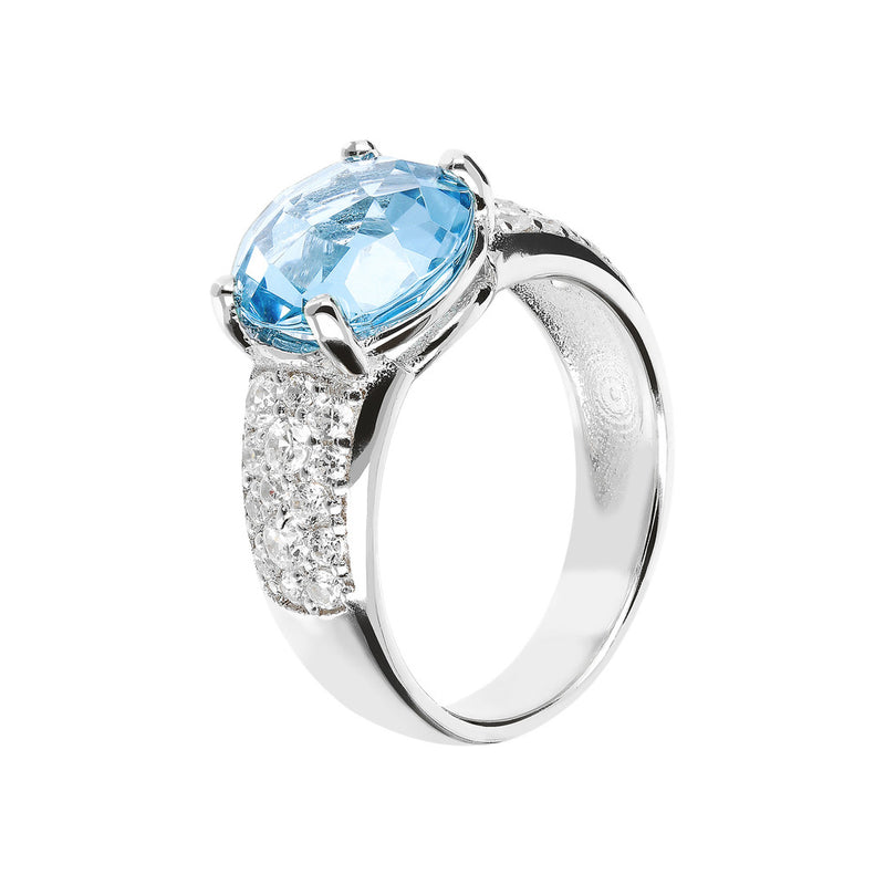 Ring with an Oval Stone and CZ NANO SWISS BLUE+WHITE CZ