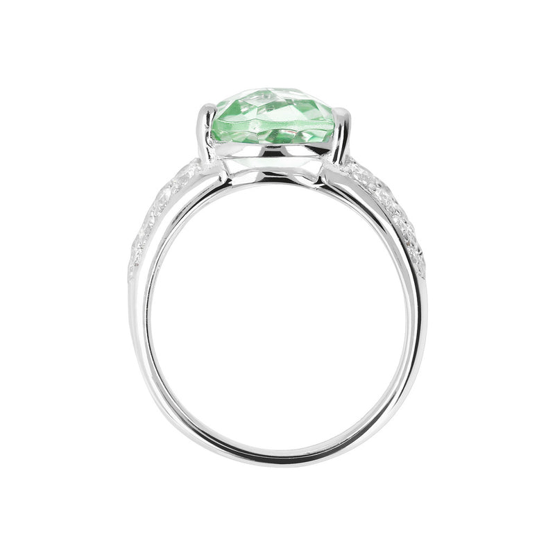 Ring with an Oval Stone and CZ setting
