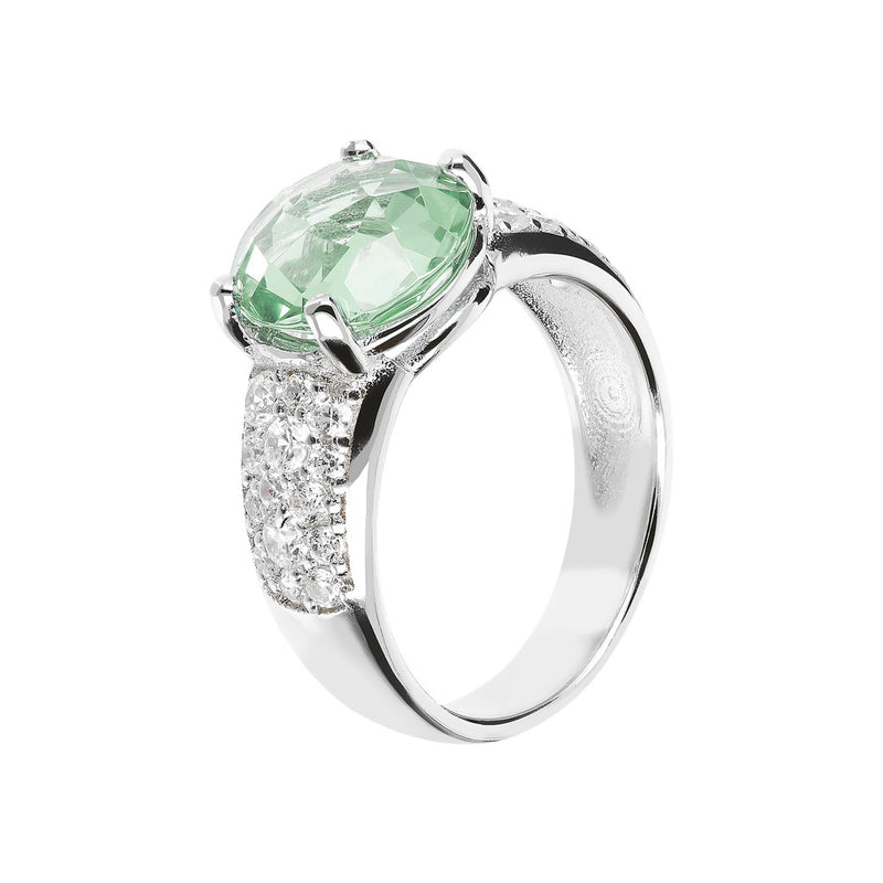 Ring with an Oval Stone and CZ