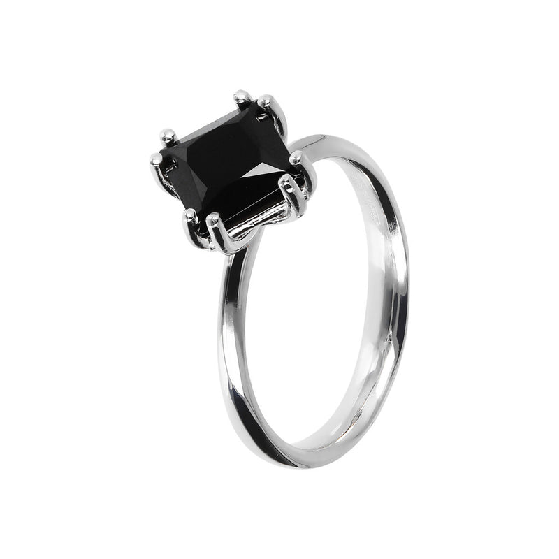SPICE IT UP GLAMLINE BIANCA MILANO RING WITH BLACK SPINEL GEMSTONE - WSBC00207