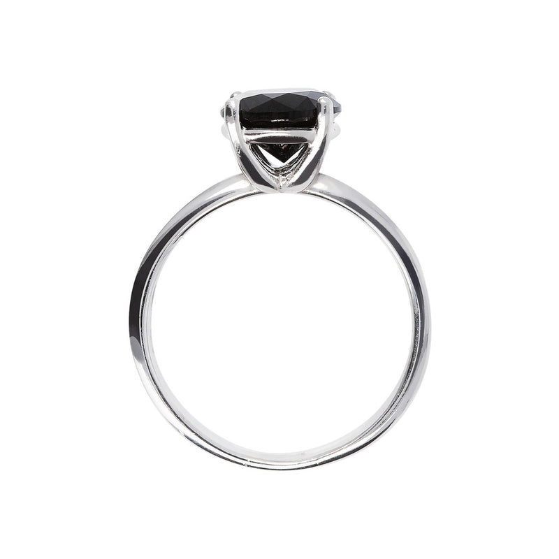 SPICE IT UP GLAMLINE BIANCA MILANO ROUND BLACK SPINEL GEMSTONE RING - WSBC00202 setting