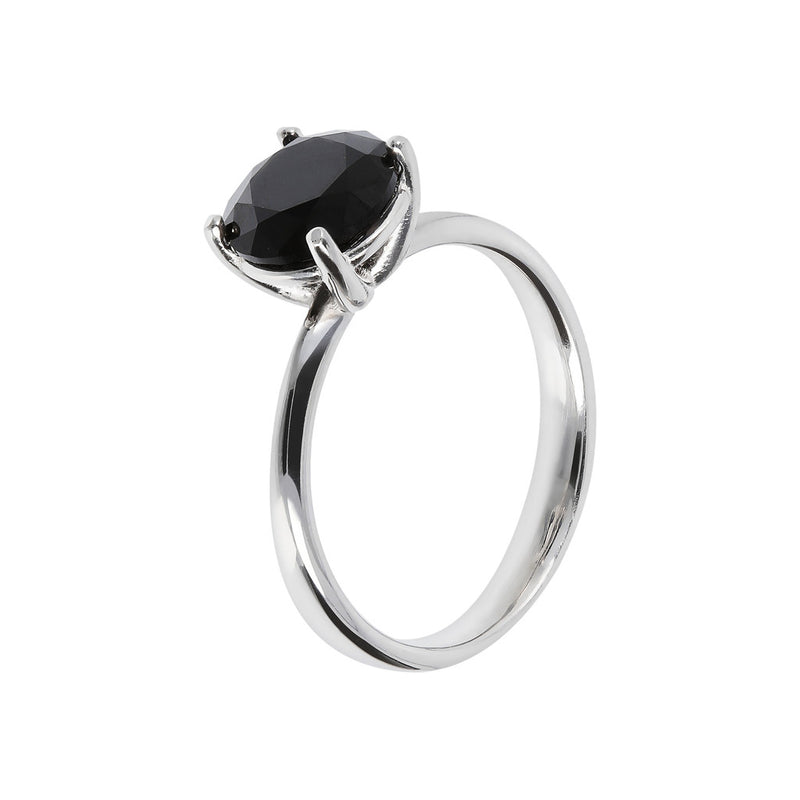 SPICE IT UP GLAMLINE BIANCA MILANO ROUND BLACK SPINEL GEMSTONE RING - WSBC00202
