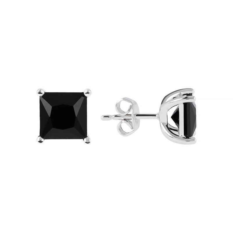 SPICE IT UP GLAMLINE BIANCA MILANO SHINY SQUARE BLACK SPINEL EARRING - WSBC00211 front and side