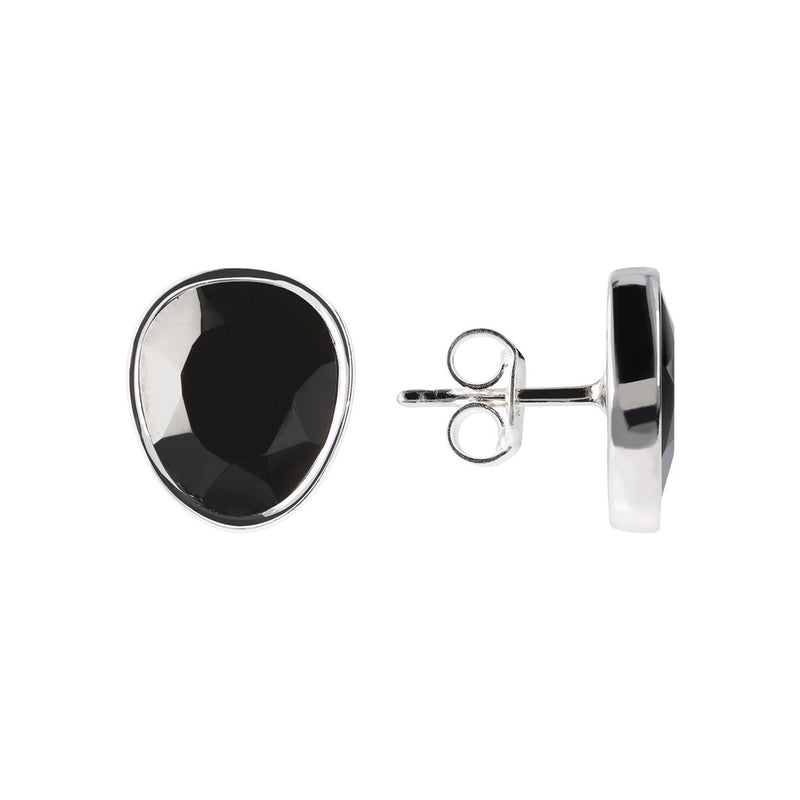 SPICE IT UP GLAMLINE BLACK SPINEL GEMSTONE STUD EARRINGS - WSBC00216 front and side