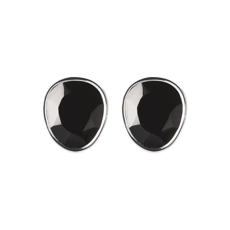 SPICE IT UP GLAMLINE BLACK SPINEL GEMSTONE STUD EARRINGS - WSBC00216