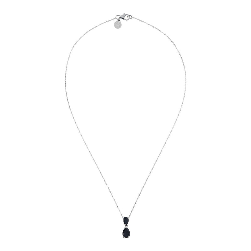SPICE IT UP GLAMLINE DIAMOND CUT FORZATINA NECKLACE WITH SLIDE DROP  SHAPE BLACK SPINEL PENDANT - WSBC00210 from above