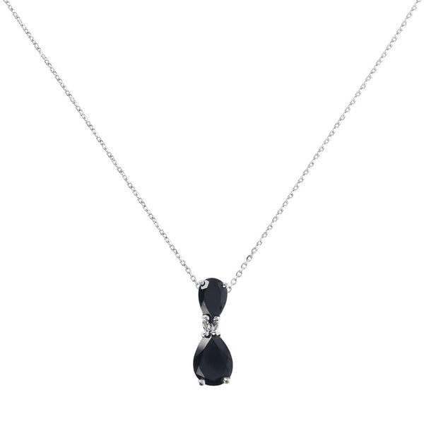 SPICE IT UP GLAMLINE DIAMOND CUT FORZATINA NECKLACE WITH SLIDE DROP  SHAPE BLACK SPINEL PENDANT - WSBC00210