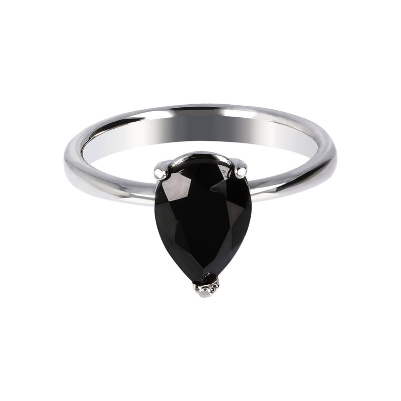 SPICE IT UP GLAMLINE DROP BLACK SPINEL GEMSTONE RING - WSBC00209 setting