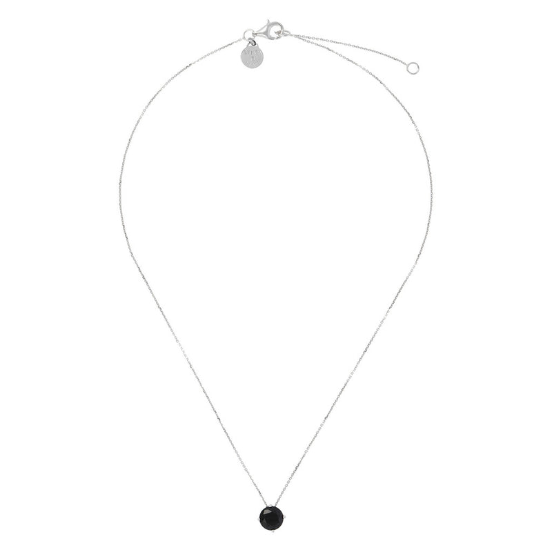 SPICE IT UP GLAMLINE  FORZATINA NECKLACE WITH  ROUND  SHAPE BLACK SPINEL  GEMSTONES SLIDE PENDANT - WSBC00205 from above
