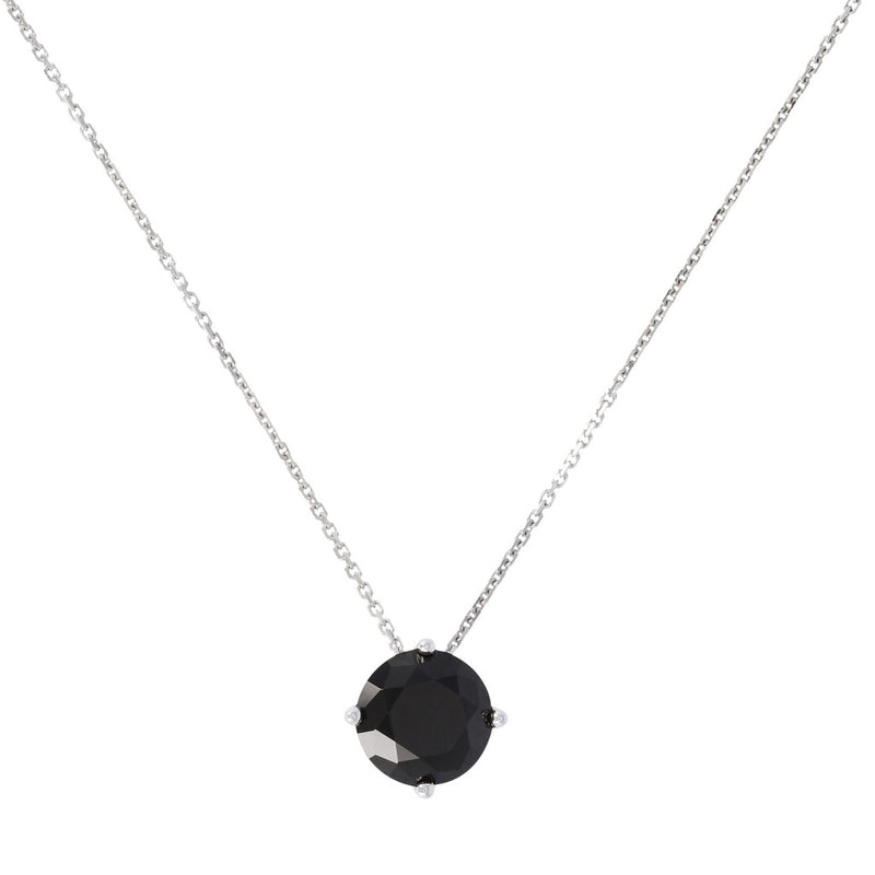 SPICE IT UP GLAMLINE  FORZATINA NECKLACE WITH  ROUND  SHAPE BLACK SPINEL  GEMSTONES SLIDE PENDANT - WSBC00205