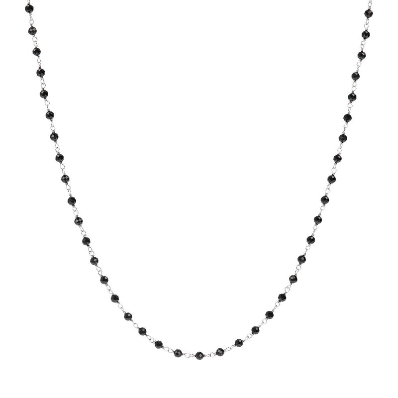 SPICE IT UP GLAMLINE ROSARY BLACK  SPINEL  GEMSTONES NECKLACE  - WSBC00219