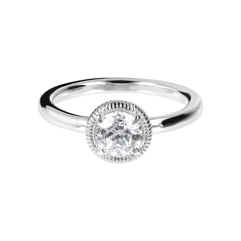 ONCE UPON A TIME WHITE DREAM BIANCA MILANO STRIPED/SHINY ROUND CZ/SPINEL GEMSTONE RING - WSBC00012 setting