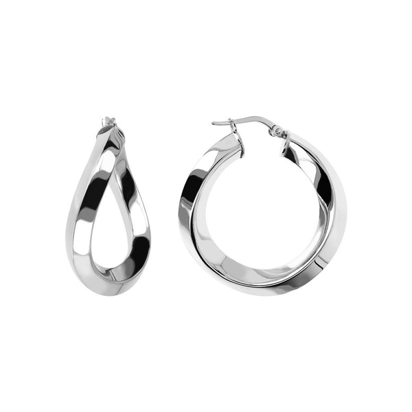 SUCH A PERFECT DAY MYESSENTIALS BIANCA MILANO SHINY WAVY HOOP EARRING-M - WSBC00085 front and side