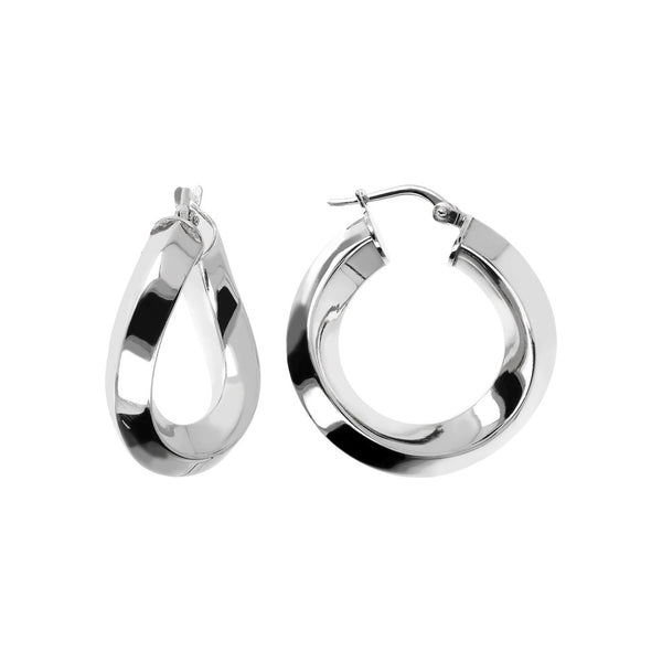 SUCH A PERFECT DAY MYESSENTIALS BIANCA MILANO SHINY WAVY HOOP EARRING-S - WSBC00086 front and side