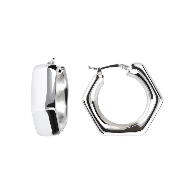 SUCH A PERFECT DAY MYESSENTIALS BIANCA MILANO POLISHED ELECTROFORMED HOOP EARRINGS - WSBC00078 front and side