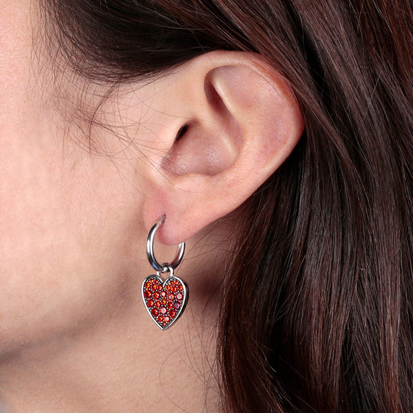 worn RWA FOR BIANCA MILANO SHINY HOOP EARRINGS WITH STAR FISH CHARM CZ GEMSTONE  - HEART HOOP - WSBC00261