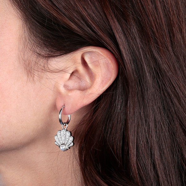 worn RWA FOR BIANCA MILANO SHINY HOOP EARRINGS WITH STAR FISH CHARM CZ GEMSTONE  - SEASHELL - WSBC00261