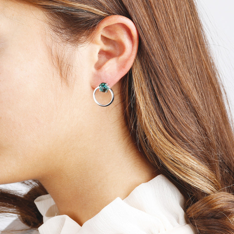 worn Round Earrings with Nano Gem Stone