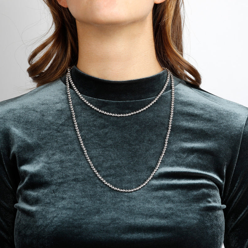 "worn SUCH A PERFECT DAY MYESSENTIALS BIANCA MILANO SHINY BEADED 4 MM NECKLACE-18"" - WSBC00124"