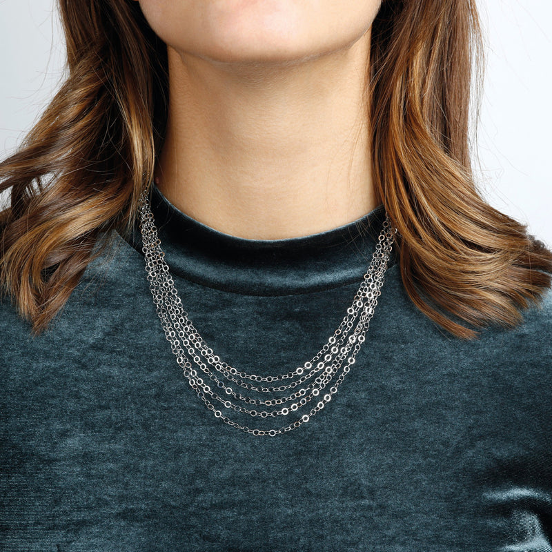 worn SUCH A PERFECT DAY MYESSENTIALS DIAMOND CUT FORZATINA 5 GRADUATED MULTISTRANDS NECKLACE - WSBC00224