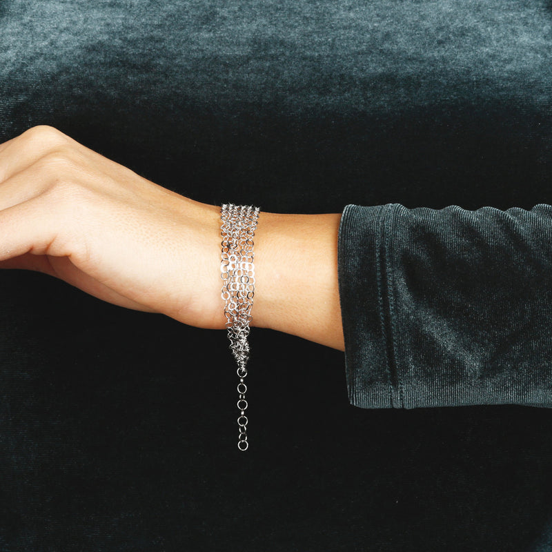 worn SUCH A PERFECT DAY MYESSENTIALS DIAMOND CUT FORZATINA 6 MULTISTRANDS  LINEAR BRACELET - WSBC00222