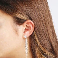 worn SUCH A PERFECT DAY MYESSENTIALS DIAMOND CUT FORZATINA GRADUATED MULTISTRANDS DANGLE EARRING - WSBC00221