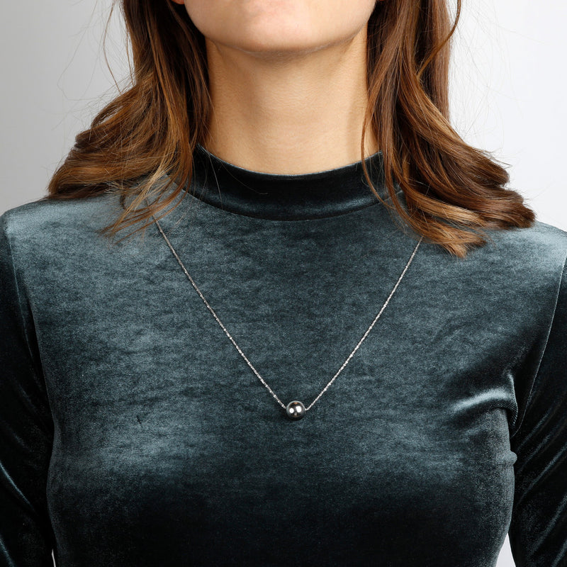 worn SUCH A PERFECT DAY MYESSENTIALS DIAMOND CUT MARGHERITA NECKLACE WITH POLISHED SLIDE  BEAD - WSBC00251