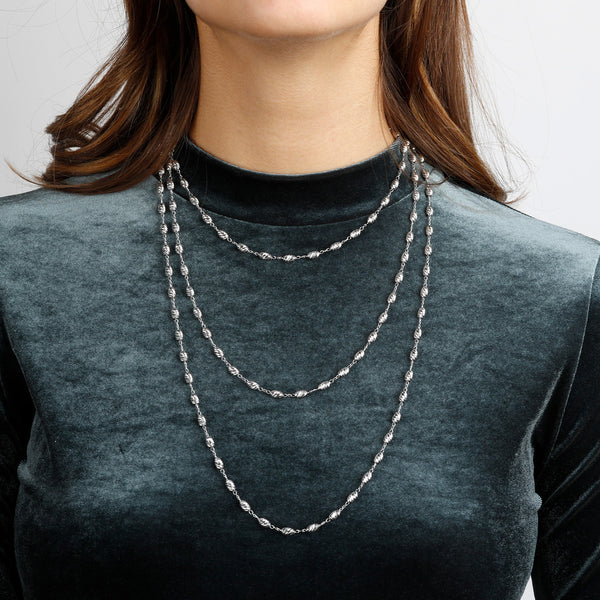 worn SUCH A PERFECT DAY MYESSENTIALS DIAMOND CUT OVALS  FISH HOOK Curb NECKLACE - WSBC00175