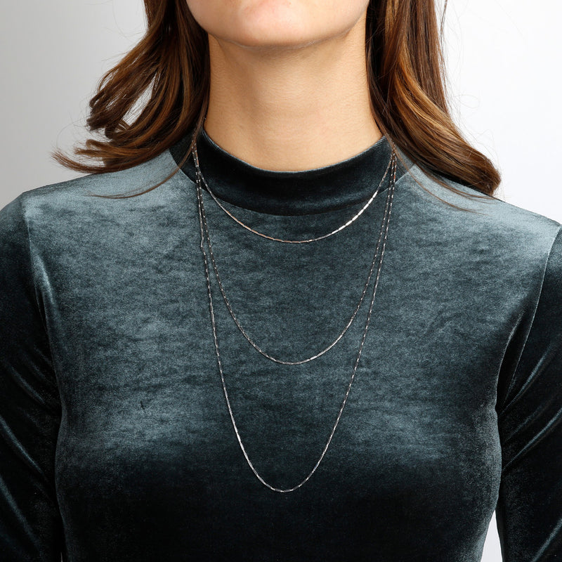 worn SUCH A PERFECT DAY MYESSENTIALS DIAMOND CUT SQUARED TUBE necklace - WSBC00173