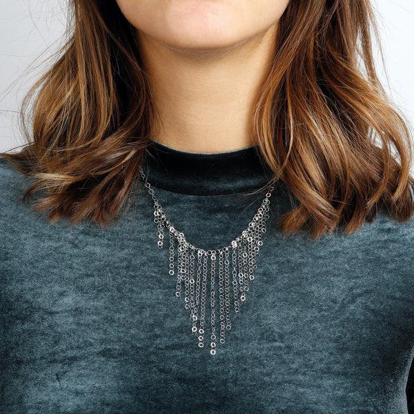 worn SUCH A PERFECT DAY MYESSENTIALS FORZATINA DIAMOND CUT WITH  GRADUATED FRINGE TASSEL NECKLACE - WSBC00223