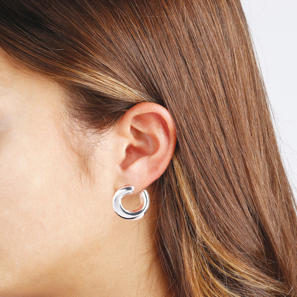 worn SUCH A PERFECT DAY MYESSENTIALS  POLISHED ELECTROFORMED ROUND EARRINGS - WSBC00076