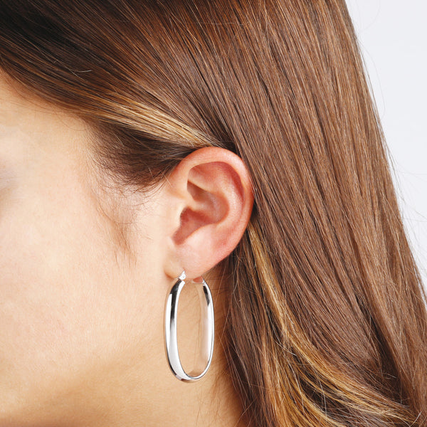 worn SUCH A PERFECT DAY MYESSENTIALS POLISHED ELONGATED OVAL HOOP EARRINGS  - WSBC00083