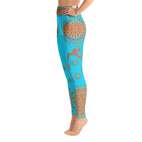 Image of Mandala Art Yoga Leggings - Turquoise